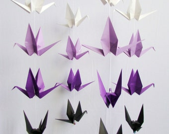 READY TO SHIP - Origami Crane Hanging Mobile - Purple Ombre Themed Cranes - Home Decor - Kids Room Decor