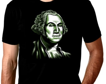President GREORGE WASHINGTON Show me the Money original art print on black cotton shirt