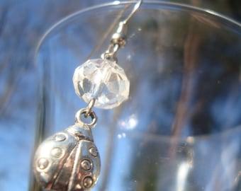 ladybug earrings with faceted crystal earrings