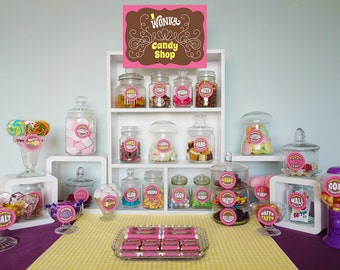 Willy Wonka Candy Shop, signs, candy buffet jar labels, Wonka Bar wrappers, Willy Wonka birthday party complete DiY printable party kit PiNK