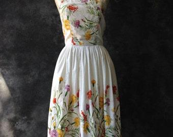 1950's floral border print summer dress