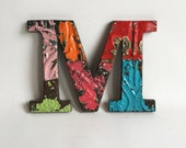 """Tin Ceiling Wrapped 8"""" Patchwork Reclaimed Metal Letter """"M"""" Mosaic Wall Hanging 193-16 Multi-Color"""