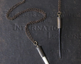 Single Porcupine Quill Necklace - Mounted Inside a 22 Caliber Bullet Casing