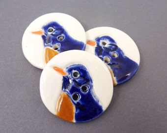 "3 Blue Bird  Handmade Ceramic Sewing Buttons.  1 1/4"" or 33 mm Round."