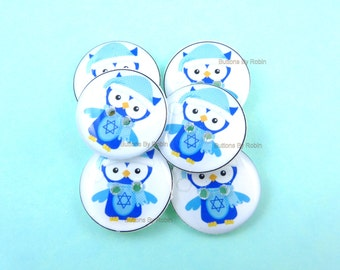 "6 Hanukkah Buttons. Handmade Sewing or Scrap booking Blue Owl Buttons. Hanukkah Owl. Washer and Dryer Safe. 3/4"" or 20 mm."
