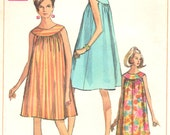 Simplicity 7597 1960s Misses Nightgown Muu Muu Pattern Ring Collar Womens Vintage Sewing Pattern Size Medium Bust 34 - 36