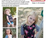 Perfect Layering Tee Knit PDF Sewing Pattern Sizes 1/2- 16 Girls