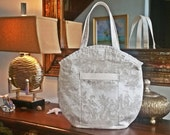 FREE Shipping USA Canada - J Castle Designs StayOver Bag - Cream on Cream French Toile Waverly Designer Fabric