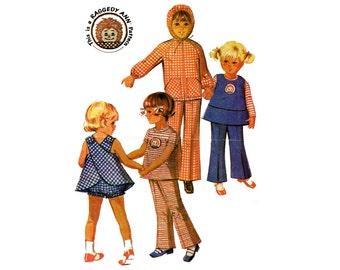 1970s Girls Raggedy Ann Pinafore Pattern Bloomers Jacket Bell Bottom Pants Back Cross Pinafore McCalls 2529 Size 6X Vintage Sewing Pattern