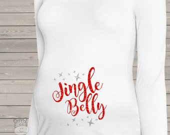 Sparkly Christmas jingle belly whimsical long or short sleeve maternity or non maternity pregnancy top with glitter