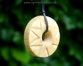 Sun necklace - Pagan sun jewelry, Wicca wooden jewelry, natural wood necklace, carved wood jewelry, wooden sun gift, Pagan natural jewelry