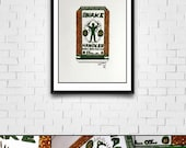 Microbrew Series Original Framed Matted Painted Illustration with Glitter Snake Handler IPA
