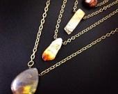 Iron zebra jasper pendant necklace * chunky brass necklace