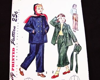 1940s Coat Pattern Girls size 10 UNCUT Girls Jacket, Hat and Pants Vintage Sewing Patterns 40s