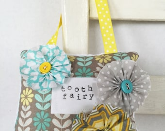 Aqua and Yellow Embellished Tooth Fairy Pillow Girls Birthday Gift OOAK Girlie Room Decor