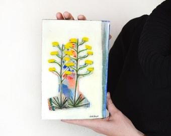 Original abstract desert Century Plant landscape painting on wood panel, Cactus Mixed Media on Wood Block