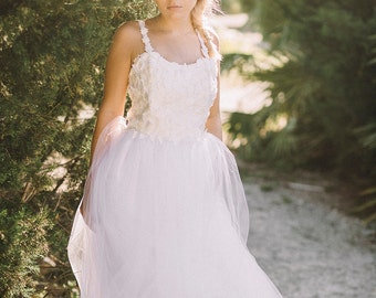Amethyst, Leaf Applique Wedding Dress, Tulle