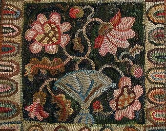Peony Pillow rug hooking pattern