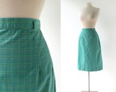 Vintage 60s Skirt | Green Plaid Skirt | White Stag | 27W Small