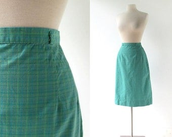 Vintage 60s Skirt / Green Plaid Skirt / White Stag / 27W Small