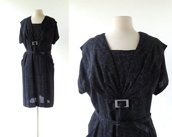 Vintage 1940s Dress / Black Dahlia / 40s Dress / XL XXL