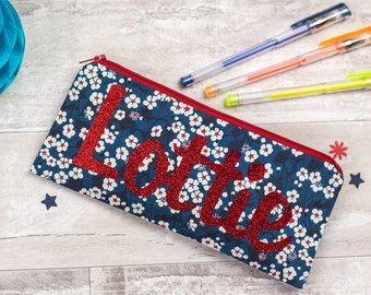 Name Pencil Case - glitter - Liberty - personalised gift for friend - zip pouch - school supplies - stationery - blue floral - personalized