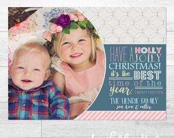 Holly Jolly Christmas- Custom Christmas Holiday Greeting Card