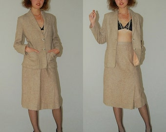 GIVENCHY Suit Set Vintage 60s Beige Wool Tweed Preppy Secretary GIVENCHY Sport Jacket and Skirt Set (s)
