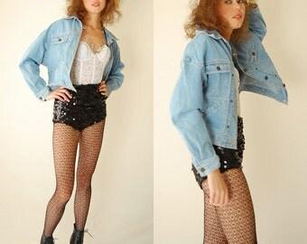 Retro Jean Jacket Vintage 80s 90s Light Blue Cotton Indie Urban Slouchy Denim Jacket (s m)