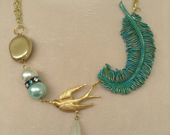 Feather Brooch Necklace