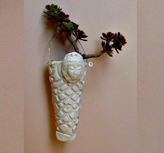 Air Plant Planter Miniature Decor Matte White Ceramic Spirit Face Hanging Vase Bisque Porcelain