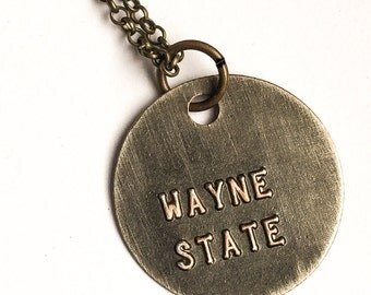 WAYNE STATE Jewelry Stamped Metal Pendant with Brass Chain