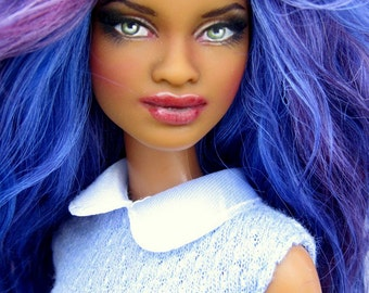 Barbie Doll Repaint AA Fashionista Grace ooak Custom Fashion Doll Dressed Mohair Wig