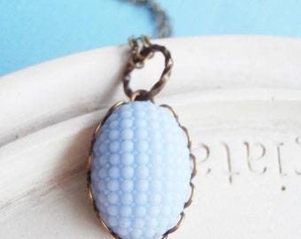 Pale Powder Blue Vintage Cabochon Necklace - Cottage Chic Feminine Jewelry