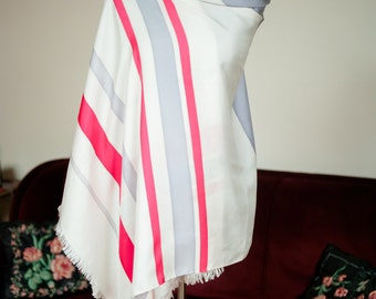 Vintage 1950s Scarf - Extra Large Long Striped Silk Scarf in White with Fuchsia and Periwinkle Grey 35 x 78