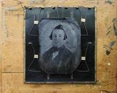 Tintype Gentleman, Half Sheet Tintype, Ghostly Image, Victorian Era Family Portrait, Halloween Decor, Ghost Photograph