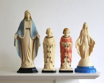 Virgin Mary Statues, Catholic Memorabilia, Plastic Saints, Plastic Marys, Vintage Virgin Mary, Religious Statues, Dashboard Saints