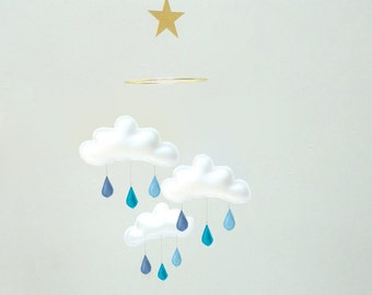 "Star Cloud Mobile for Nursery ""SILEN"" Baby blue, Blue denim,Turquoise by The Butter Flying-Rain Cloud Mobile Nursery  Decor"