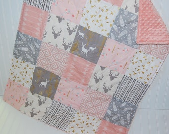 tribal baby quilt-woodland baby quilt- elk baby quilt- pink and gray baby quilt- baby bedding-minky baby quilt- baby girl quilt
