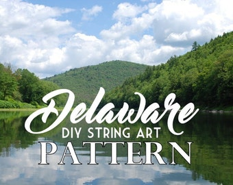 "Delaware - DIY State String Art Pattern - 4.5"" x 11"" - Hearts & Stars included"