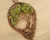 Wire Wrapped Tree of Life Pendant, Peridot Gemstone Beads, Handmade Jewelry Copper Wire Tree Jewelry August Birthstones