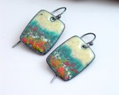 Vitreous Enamel Original Copper Earrings, Yellow Sky Rectangle Dangle, Nature Inspired, Ready to Ship, OOAK, Handmade Copper Enameling