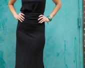 Blouson dress in black knit • Adjustable panel knit dress • Travel dress