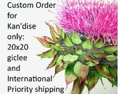 Custom Order for Kan'dise: 20x20 in. Pink Thistle giclee print reproduction of watercolor by Nan Henke