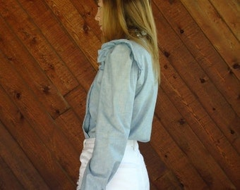 Chambray Woven High Neck Shirt Blouse - Vintage 70s - XS/S