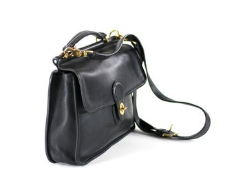 Coach Willis Messenger Saddle Bag Purse Large Black Leather Structured Box Tote Messenger Bag Crossbody Bag