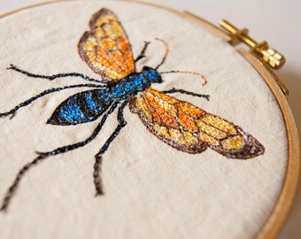 Tarantula Hawk Wasp Pepsis grossa Hoop Embroidery Textile Art Home Decor Entomology State Insect of New Mexico Wildlife Woodland Nature