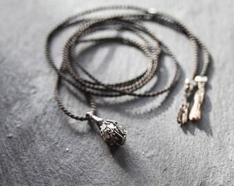 Sterling Silver Pendant / Organic Pendant / Rough Pendant / Silk