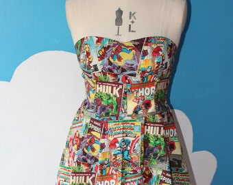 marvel comic book sweet heart dress - avengers