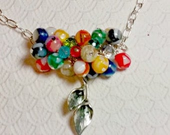 Cluster Beaded Pendant Necklace With Mother of Pearl Beads and Calla Lily Charm
